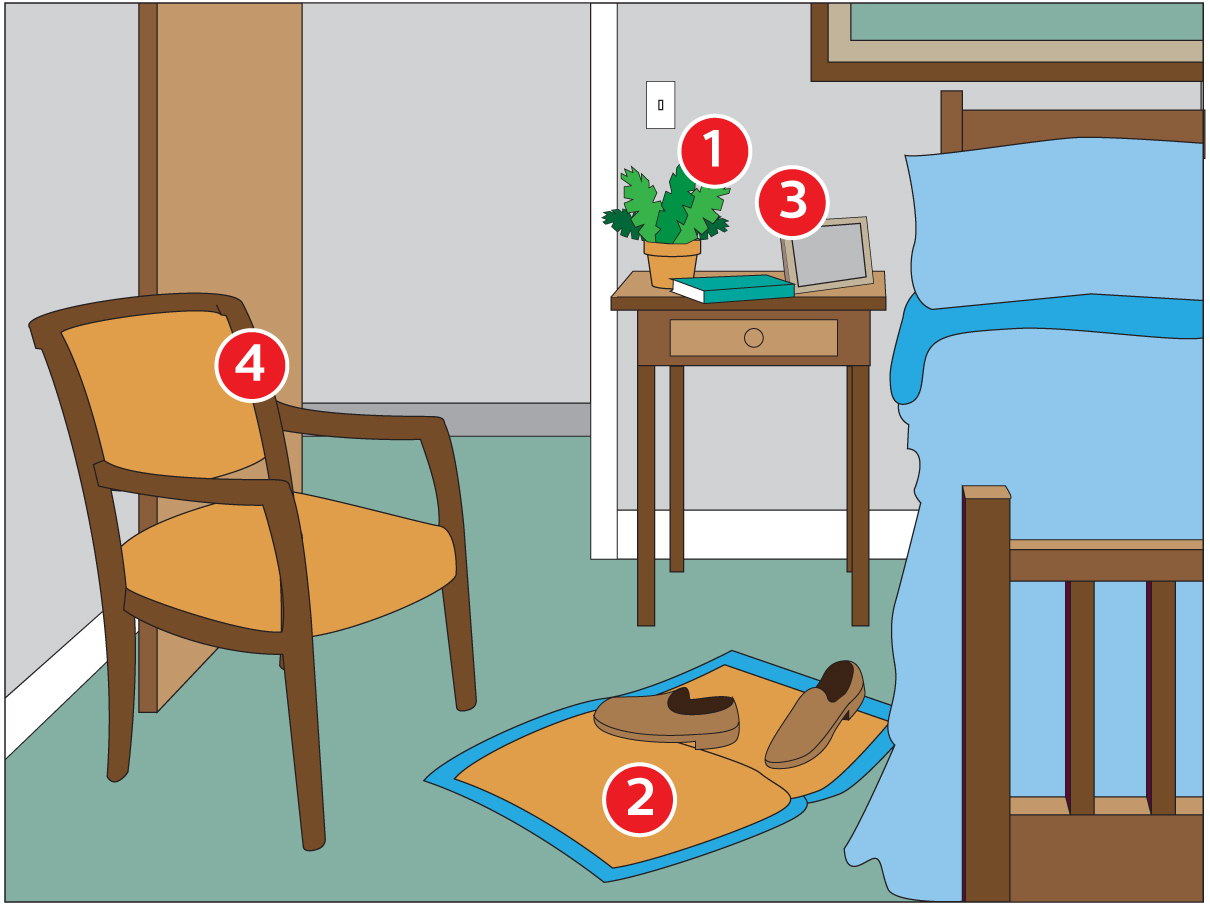 Bedroom with safety issues for seniors