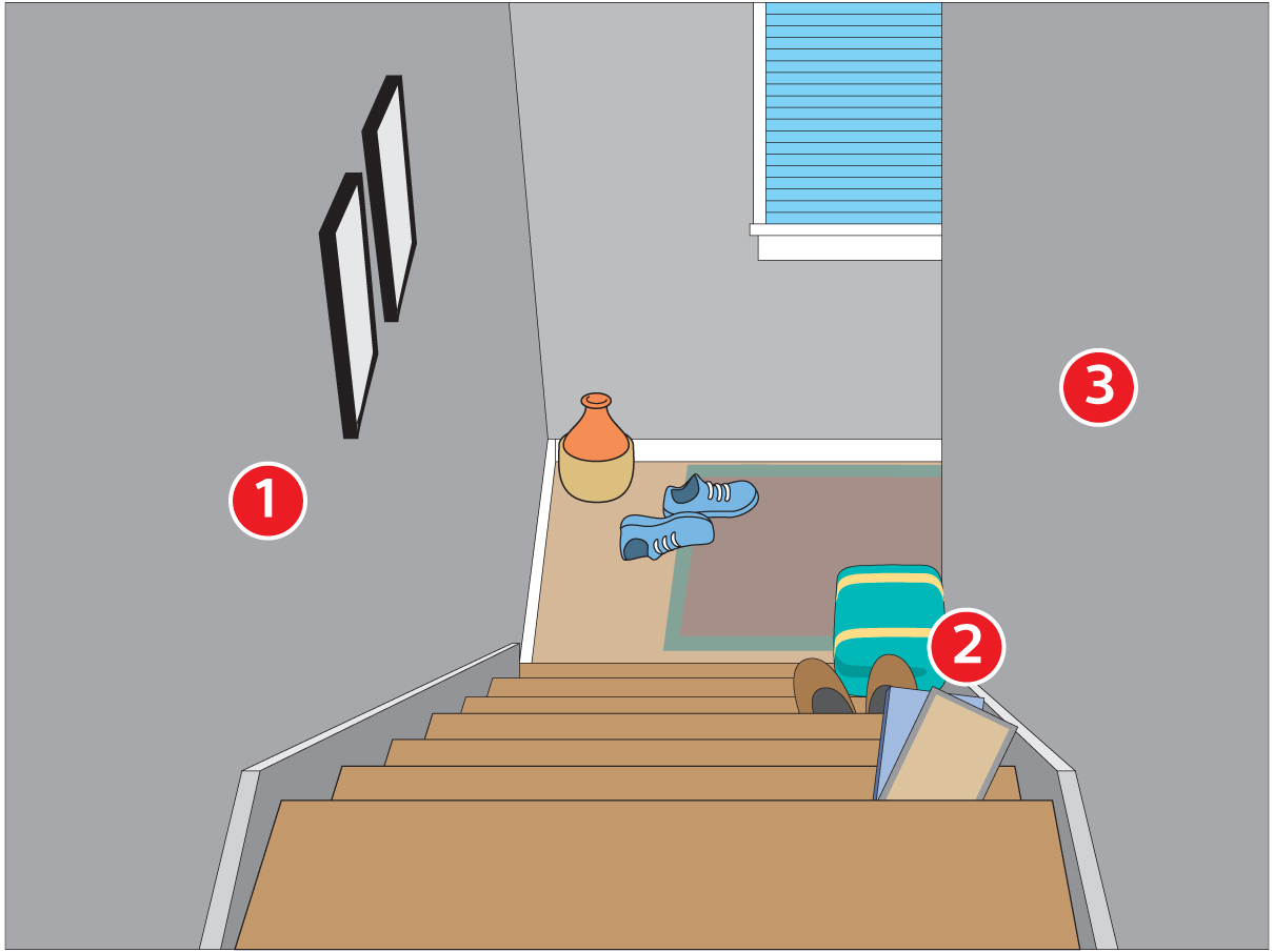 Stairway with fall hazards for seniors